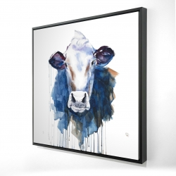 Framed 24 x 24 - 3D - Watercolor cow
