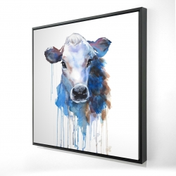 Framed 24 x 24 - 3D - Watercolor jersey cow