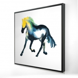 Framed 24 x 24 - 3D - Galloping colorful horse