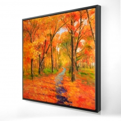 Framed 24 x 24 - 3D - Autumn trail in the forest