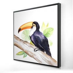 Framed 24 x 24 - 3D - Toucan perched