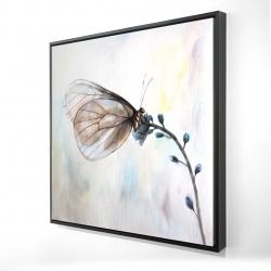 Framed 24 x 24 - 3D - Butterfly on blue flowers