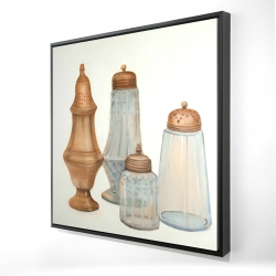 Framed 24 x 24 - 3D - Antique salt and pepper shaker