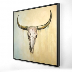Framed 24 x 24 - 3D - Cow skull