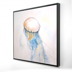 Framed 24 x 24 - 3D - Watercolor jellyfish