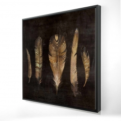 Framed 24 x 24 - 3D - Brown feather set