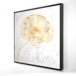 Framed 24 x 24 - 3D - Golden poppy flower
