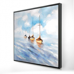 Framed 24 x 24 - 3D - Sailboats in the sea