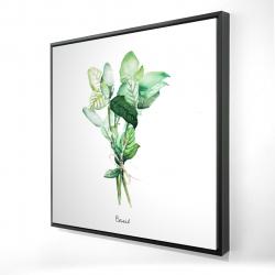 Framed 24 x 24 - 3D - Tied up basil leaves bundle - en