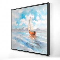 Framed 24 x 24 - 3D - Sailboat landscape