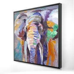 Framed 24 x 24 - 3D - Elephant in pastel color