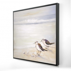 Framed 24 x 24 - 3D - Two sandpipers on the beach