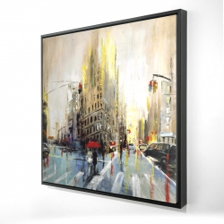 Framed 48 x 48 - 3D - Abstract rainy street