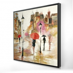 Framed 24 x 24 - 3D - Passersby under their umbrellas