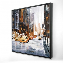 Framed 24 x 24 - 3D - Big city street with yellow taxi