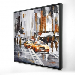 Framed 24 x 24 - 3D - Abstract citystreet with yellow taxis