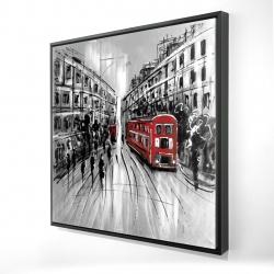 Encadré 24 x 24 - 3D - Rue en noir et blanc avec bus rouge