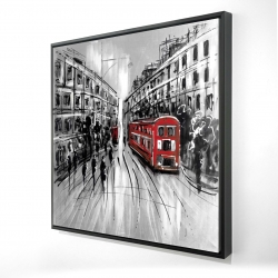 Framed 24 x 24 - 3D - Black and white street with red bus