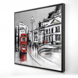 Framed 36 x 36 - 3D - Abstract gray city with red bus