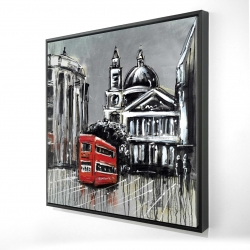 Framed 24 x 24 - 3D - London street with red bus