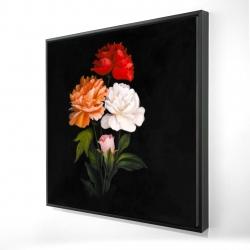 Framed 24 x 24 - 3D - Three beautiful rose flowers
