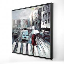 Framed 24 x 24 - 3D - Abstract pedestrian crossing