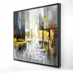 Framed 24 x 24 - 3D - Rainy busy street