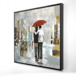 Framed 24 x 24 - 3D - Couple walking under their umbrella