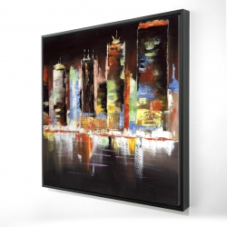 Framed 24 x 24 - 3D - Cityscape by night