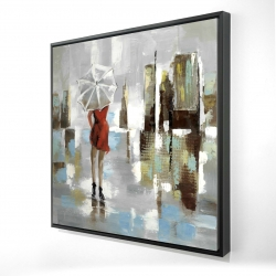 Framed 24 x 24 - 3D - Red dress woman