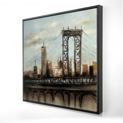 Framed 24 x 24 - 3D - City bridge by a cloudy day