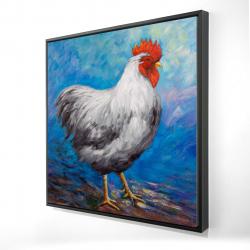 Framed 24 x 24 - 3D - Grey rooster