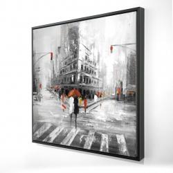 Encadré 24 x 24 - 3D - Rue en tons de gris avec accents rouges