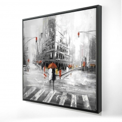 Framed 24 x 24 - 3D - Gray city street with red accents