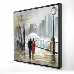 Framed 24 x 24 - 3D - Couple walking under the rain