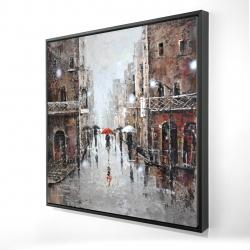 Framed 24 x 24 - 3D - City rain