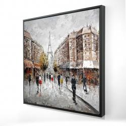 Framed 24 x 24 - 3D - Paris busy street