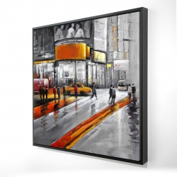 Framed 24 x 24 - 3D - Gray street with orange accents