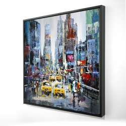 Framed 24 x 24 - 3D - Urban scene with yellow taxis