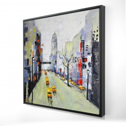 Framed 24 x 24 - 3D - Gray street with yellow and red accents