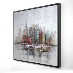 Framed 24 x 24 - 3D - Cityscape with typography in relief