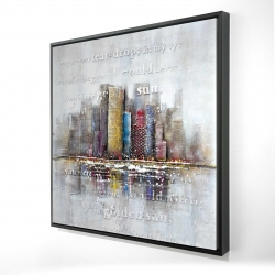 Framed 24 x 24 - 3D - Buildings with typography in relief