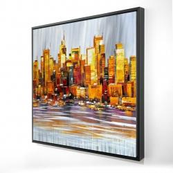 Framed 24 x 24 - 3D - Orange buildings