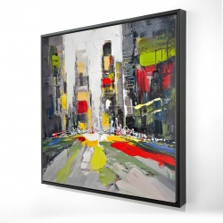 Framed 24 x 24 - 3D - Abstract texturized cityscape