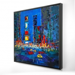 Framed 24 x 24 - 3D - Colorful and abstract times square by night