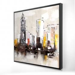 Framed 24 x 24 - 3D - Artistic cityscape