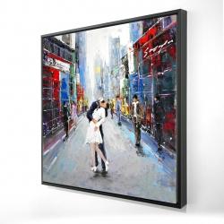 Framed 24 x 24 - 3D - Couple kissing on the street