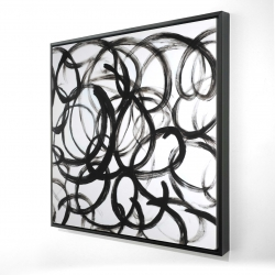 Framed 24 x 24 - 3D - Abstract curly lines