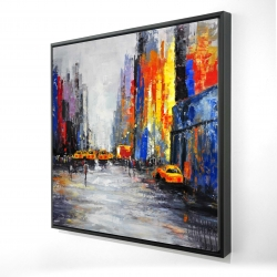 Framed 24 x 24 - 3D - Color spotted street with taxis