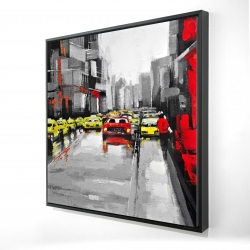 Framed 24 x 24 - 3D - Abstract traffic by a rainy day